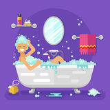 Woman having a bubble bath Stock Photography