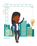 Woman having business idea vector illustration. African woman pointing at idea light bulb hanging on crane. Architect having idea in town planning. Concept of Royalty Free Stock Photography