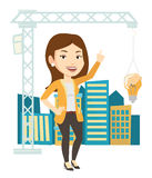 Woman having business idea vector illustration. Caucasian woman pointing at idea light bulb hanging on crane. Architect having idea in town planning. Concept of Stock Image