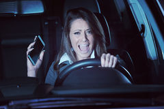 Woman having a car accident Stock Photo