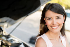 Woman having car problems Royalty Free Stock Photo