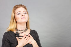 Woman having chain around neck Stock Image