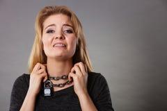 Woman having chain around neck Stock Photos