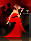 Woman having cocktail at the bar. Vector illustration young woman having cocktail at the bar Royalty Free Stock Image