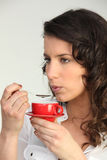 Woman having a coffee Stock Photography