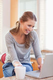 Woman having coffee and surfing the web Stock Images
