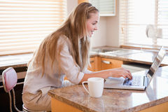 Woman having coffee while using a notebook Royalty Free Stock Image