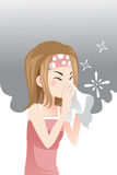 Woman having a cold. A vector illustration of a woman having a cold Royalty Free Stock Photography