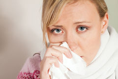 Woman having a cold or flu Stock Photos