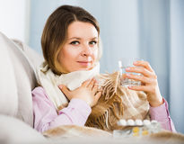 Woman having cold Royalty Free Stock Image