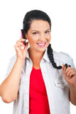 Woman having conversation by cell phone Royalty Free Stock Photos