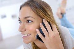 Woman having conversation on cellular phone Royalty Free Stock Image