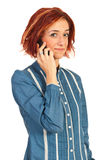 Woman having conversation by phone Royalty Free Stock Images