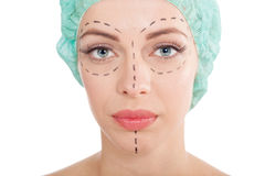 Woman having cosmetic surgery treatment Royalty Free Stock Photography