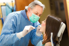 Woman having a dental treatment Royalty Free Stock Images