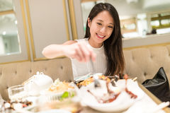 Woman having dinner in chinese resturant Stock Photos