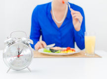 Woman having dinner. Royalty Free Stock Images