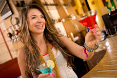 Woman having drinks Royalty Free Stock Photo