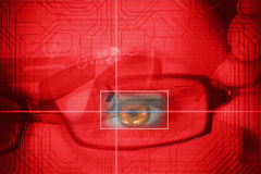 Woman having an eye analysed Stock Photo