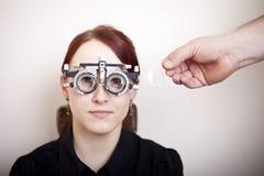 Woman having eye exam Royalty Free Stock Photos