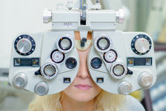 Woman having eye exam Royalty Free Stock Photo