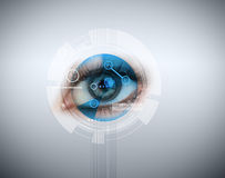 Woman having an eye recognition Royalty Free Stock Photos