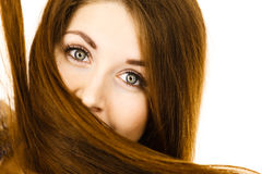 Woman having face covered with her brown hair Stock Image