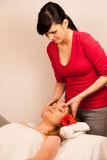 Woman having face massage treatment in wellness Royalty Free Stock Image