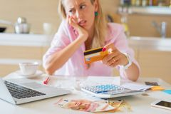 Woman having financial problems Royalty Free Stock Images