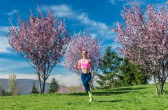 Woman having fitness run in the spring sun royalty free stock image