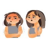 Woman having flu, fever, sore throat Stock Images