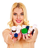Woman having flu takes pills. Royalty Free Stock Photography