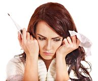 Woman having  flue  taking thermometer. Royalty Free Stock Images