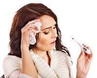 Woman having  flue  taking thermometer. Stock Images