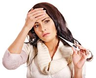 Woman having  flue  taking thermometer. Stock Photos