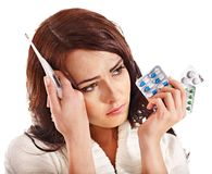 Woman having  flue  taking thermometer. Royalty Free Stock Photo