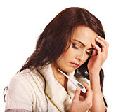 Woman having  flue  taking thermometer. Stock Image