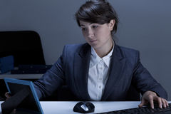 Woman having frame on her desk Royalty Free Stock Photo