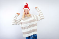 Woman is having fun on christmas Stock Photo