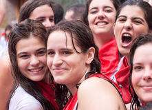 Woman having fun at festival of San Fermin Royalty Free Stock Images