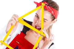 Woman having fun with home improvement Royalty Free Stock Photography