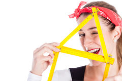 Woman having fun with home improvement Stock Image
