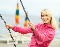 Woman having fun outdoors Stock Photos