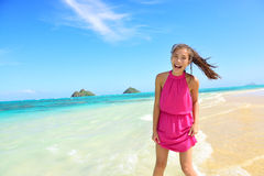 Woman having fun portrait on Hawaii Lanikai beach Stock Photography