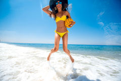 Woman having fun on the sea Royalty Free Stock Images