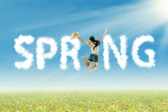 Woman having fun on spring Stock Photo
