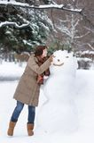 Woman having fun in winter Stock Photo