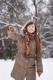 Woman having fun in winter Stock Image