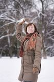Woman having fun in winter Royalty Free Stock Photo