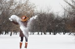 Woman having fun in winter Stock Photo